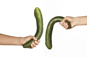 cucumber used to depict penis, limp