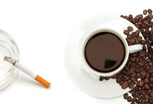 nicotine and caffeine cigarette and coffee