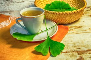 gingko biloba tea and leaves natural ingredient